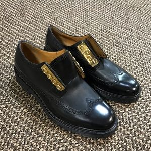 Marc Jacobs Black Leather Gold Buckled Dress Shoes